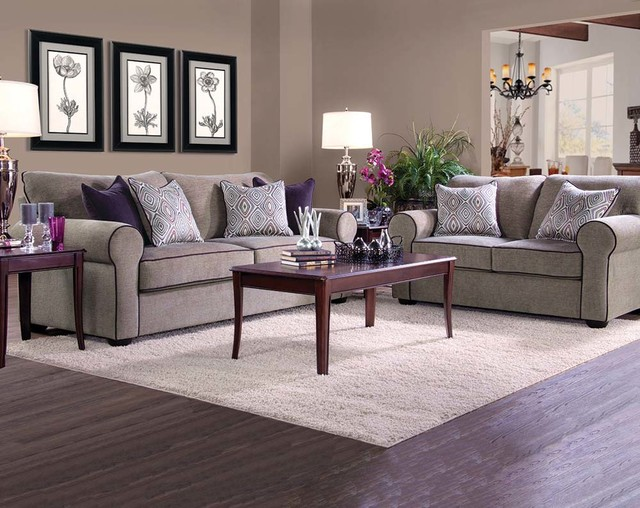 Columbia Fog Sofa and Loveseat - Contemporary - Living Room - american freight living room sets