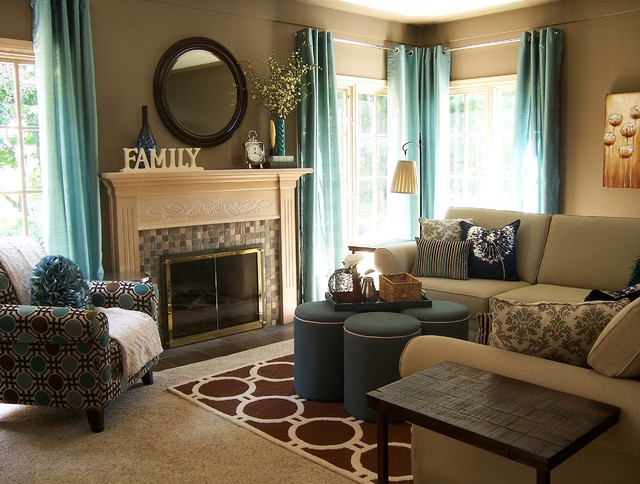 Teal and Taupe Living Room - Contemporary - Living Room - Grand - teal living room ideas