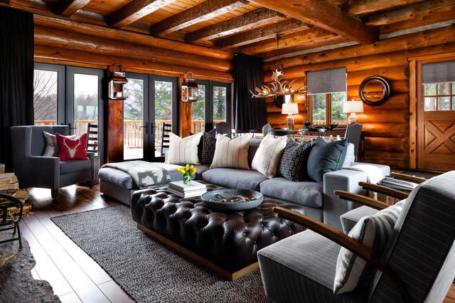 Rosseau log cabin living room - Rustic - Living Room - Toronto - log cabin living rooms