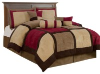 7-Piece Micro Suede Patchwork Bed-in-a-Bag Comforter Set ...