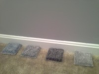 Which color carpet with gray walls? (Bedroom)