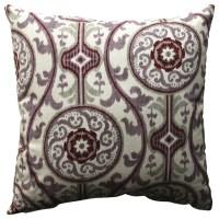 """Suzani Damask Plum 18"""" Throw Pillow - Farmhouse ..."""