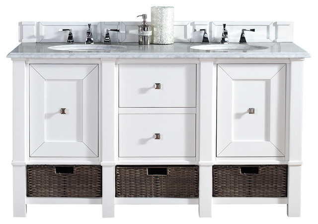 "Beach Style Bathroom Vanity Madison 60"" Cottage White Double Vanity, Carrera White"