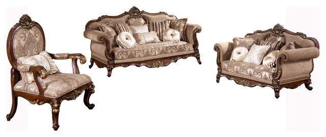 Winfrey Traditional 3-Piece Living Room Set - Victorian - Living - 3 piece living room furniture set