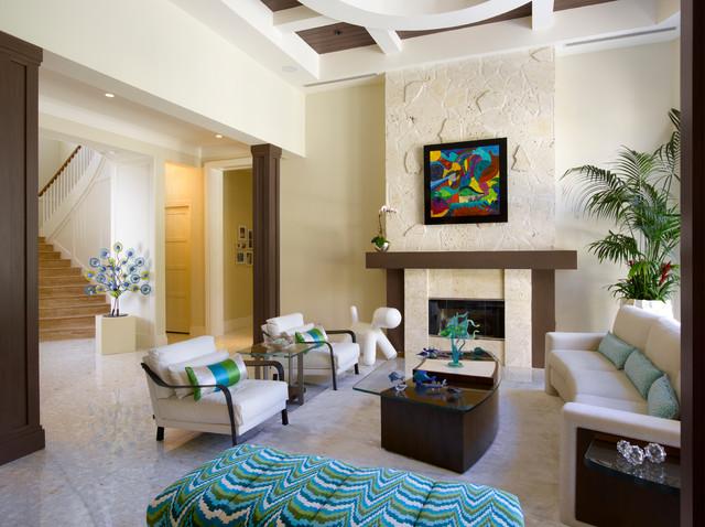 Florida Vernacular (Key West Style) Home - Contemporary - Living - key west style home decor