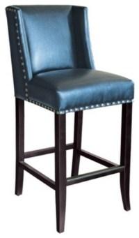 Wingback Bar Stool, Blue Leather, Bar Height - Bar Stools ...