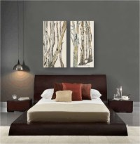 Contemporary bedroom design dark gray walls artwork zen ...