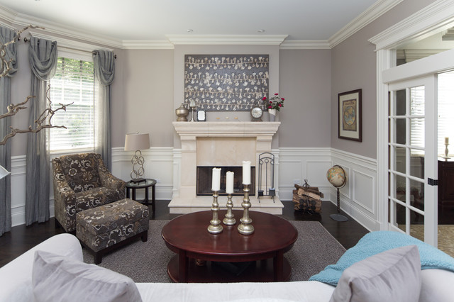 Transitional Style Living Room with White Wainscoting - transitional style living room
