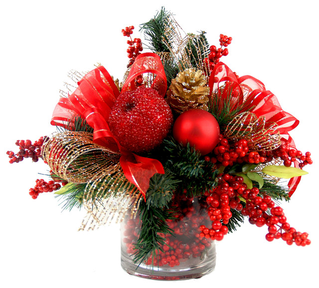 Iced Apple and Berry Floral Arrangement, Red, Gold and Green - christmas floral decorations