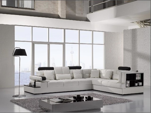 Modern White Leather Sectional Sofa with Storage - Modern - Living - white leather living room furniture