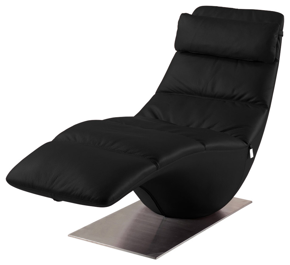 Zola Black Leather Contemporary Lounge Chaise Contemporary Indoor Chaise Lounge Chairs By Zuri Furniture Houzz