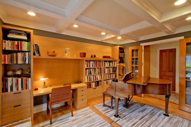 White Bookcase With Doors Quarter-sawn White Oak Desk/bookcase Wall And Coffered