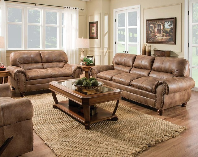Rochester Hazelnut Sofa and Loveseat - Contemporary - Living Room - american freight living room sets