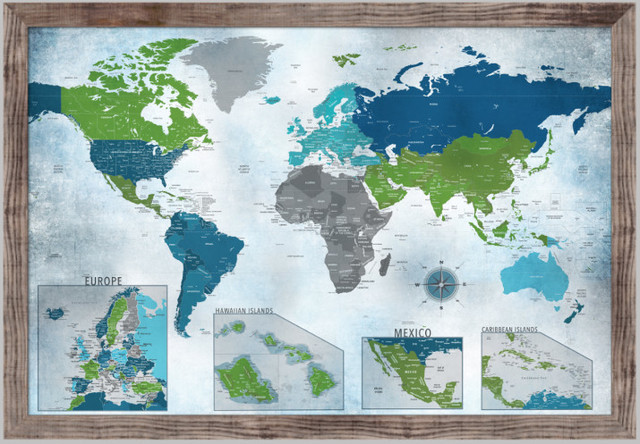 World Map Push Pin Map, Water Color Blues With Insets, 24\ - pins on a map