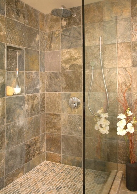 Slate Shower Tile Open Shower With Shampoo Niche - Asian - Bathroom