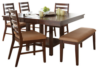 Steve Silver Eden 6 Piece Dining Room Set In Dark Cherry