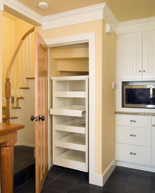 Kitchen pantry built in under the stair, with with pullout shelves - under stairs kitchen storage