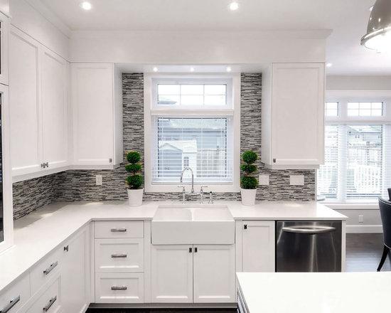 backsplash window home design ideas pictures remodel glass tile backsplash slightly glitzier alternative