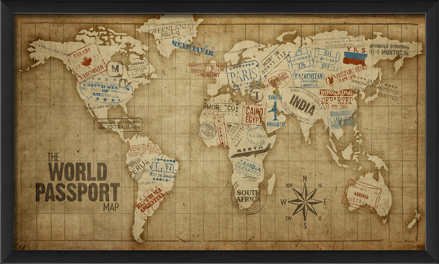 The World Passport Map Print - Contemporary - Prints And Posters