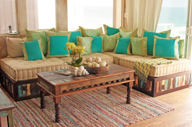 Moroccan Style Sofa in Reclaimed Wood - Eclectic - Living Room - moroccan style living room