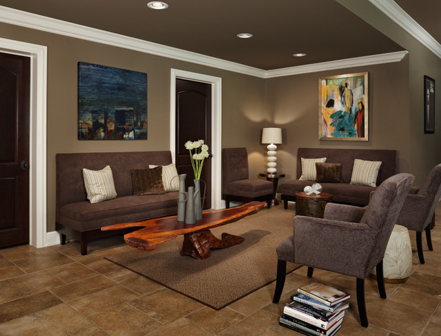 Wohnwand Dunkelbraun Lounge Seating - Contemporary - Basement - Detroit - By