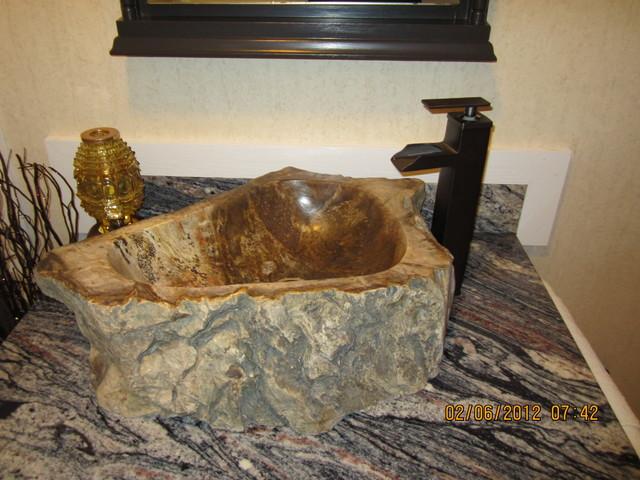 Natural Stone Sink Petrified Wood Eclectic Bathroom Cedar Rapids By Eden Bath Vessel