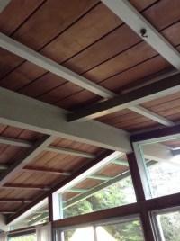Painted wooden ceiling beams