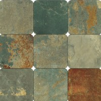 California Gold Slate 4x4 Tumbled Subway Tile, 1 Sq Ft, 9 ...