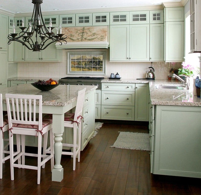 French Landscape Mural in Cottage Kitchen Design - Traditional - cottage kitchen ideas