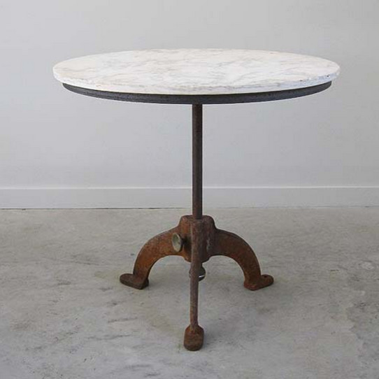 Marble Topped Antique Bistro Table With Cast Iron Base