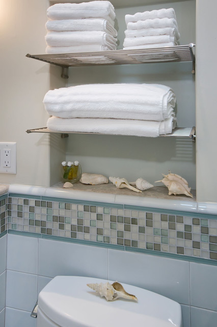 Shelf Dividers Bathroom With Towel Niche And Chrome Shelves