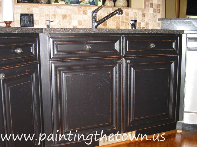 painted kitchen cabinets mediterranean kitchen painted black kitchen cabinets photos home improvement area