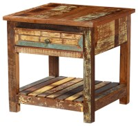 Rustic Reclaimed Wood 2 Tier Weathered Square End Table