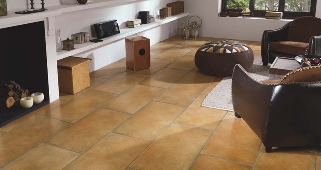 Porcelanosa Marsella Caldera floor tiles - Mediterranean - Living - tile living room floors