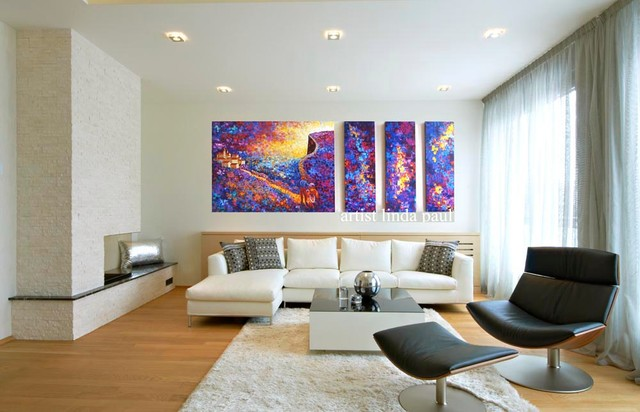Large Colorful Wall Art Paintings in Black and White Living Room - artwork for living room