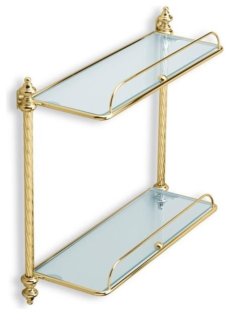 Double Glass Bathroom Shelf Gold Traditional Bathroom