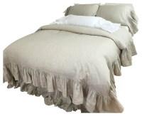 Natural Linen Duvet Cover, Mermaid Ruffle