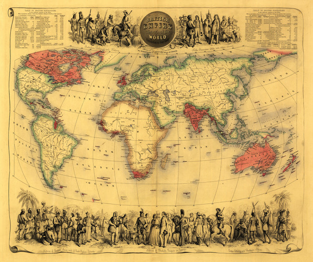 World Map Showing British Empire - Panoramic Map\
