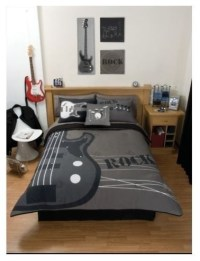 Gray Rock Guitar Comforter Bedding Set, Twin