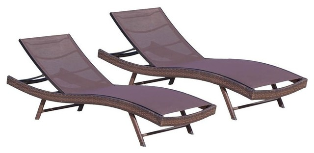 Contemporary Chaise Lounge Brown Set Of 2 Tropical