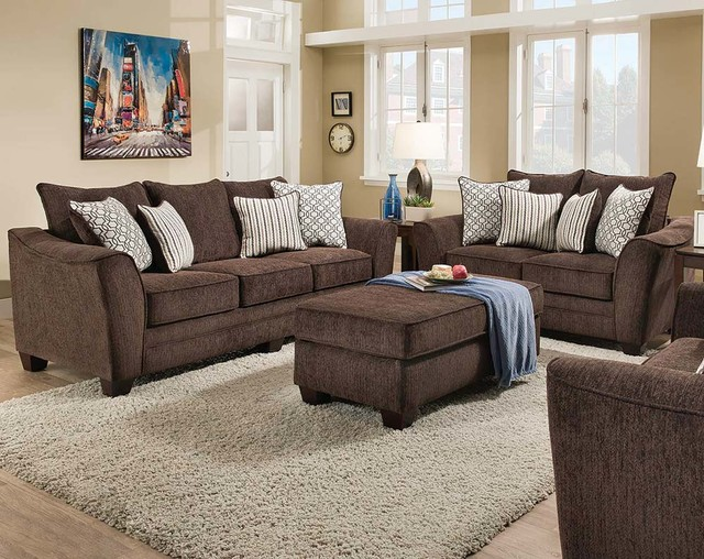 Freefall Chocolate Sofa and Loveseat - Transitional - Living Room - american freight living room sets