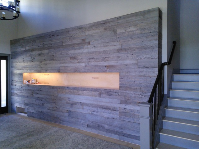 Barn wood accent walls contemporary staircase seattle by
