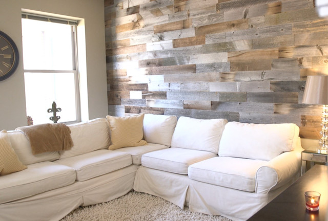 Reclaimed Wood Wall in Urban Apartment - Rustic - Living Room - wood wall living room