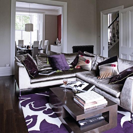gray purple living rm - purple and grey living room