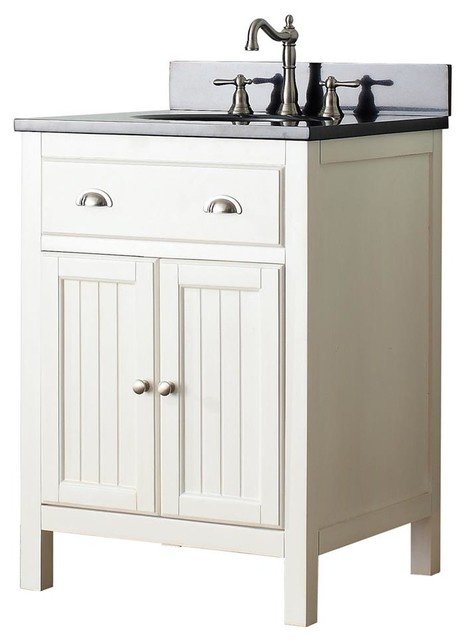 Beach Style Bathroom Vanity Single Sink Vanity In French White Finish - Beach Style