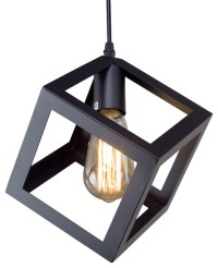 Cube Retro-Style Pendant, Black - Industrial - Pendant ...