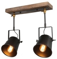 Wood Close To Ceiling Track Lighting Spotlights 2-Light ...