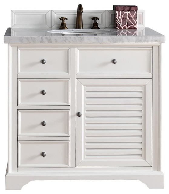 "Beach Style Bathroom Vanity Savannah 36"" Cottage White Single Vanity, No Top - Beach"