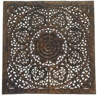 """Elegant Wood Carved Floral Bali Art Wall Panel, 48"""", Set ..."""