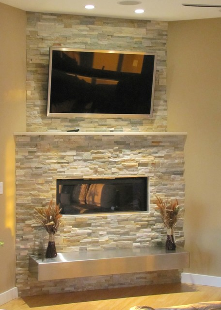 Fake Kamin Bauen Stacked Stone Fireplace With Floating Hearth